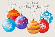 Christmas Balls, Christmas Art, Christmas And New Year, Vintage Christmas, Christmas Decorations, Christmas Ornaments, Christmas Ideas, Christmas Graphics, Watercolor Christmas Cards