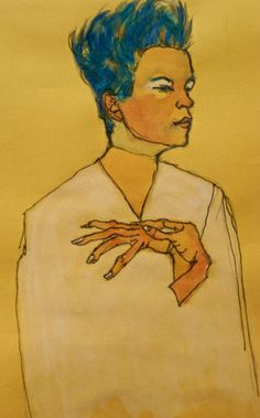 After Egon Schiele (Austria 1890-1918) 'Self portrait with hands on chest' 1910. This won a competition for tickets to see the wonderful 'Vienna' art exhibition, Melbourne 2011. Elizabeth Moore Golding 2011 © | Elizabeth Moore Golding