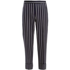 Thom Browne Tapered-leg striped wool-blend cropped trousers (€880) ❤ liked on Polyvore featuring pants, bottoms, jeans, trousers, navy stripe, striped wide-leg pants, blue striped pants, wide-leg pants, striped trousers and cropped trousers
