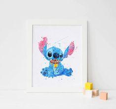 Piquer le point de Disney Stitch aquarelle Art point Print, décor de disney, aquarelle pépinière Print art Poster disney d