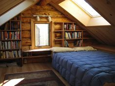 Sleeping Loft with Skylights and Storage in the Alaskan cabin of Shae Irving. Photo by Shae Irving | Hitchhiking to Heaven (Return of the Porcupine post) [Please keep photo credit and original link if reusing or repinning. Thanks!]
