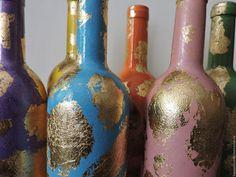 Купить Веселая поталь - комбинированный, яркие цвета, хорошее настроение, золото, бутылка декоративная