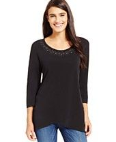 JM Collection Studded Envelope-Hem Top, Only at Macy's