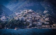 Télécharger fonds d'écran Positano, sur la côte, l'été, la mer, les montagnes, Italie