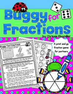 Fraction Game FREEBIE: Buggy for Fractions! by Undercover Classroom 3rd Grade Fractions, Second Grade Math, Math Fractions, Third Grade, Grade 3, Maths, Decimal, Math Games, Math Activities