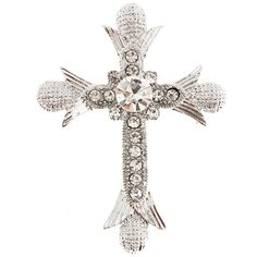 066d19660e95 White Cross Crystal Pin Brooch And Pendant