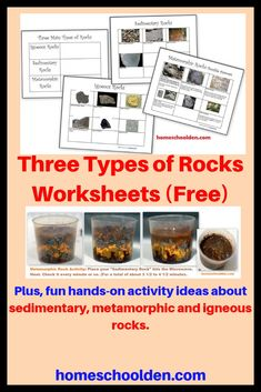 Three Types of Rocks Worksheets (Free) - Our Activities and a Free Worksheet Packet about igneous, sedimentary and metamorphic rocks. Learn about the 3 types of rocks with various hands-on activities! Don't miss our free Rocks and Minerals Packet as well. Rock Science, Earth Science Lessons, Earth And Space Science, Science For Kids, Science Penguin, Science Topics, Science Fun, Science Ideas, Science Projects