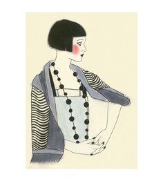 Art Deco fashion drawing Jools  4 X 6  print by matouenpeluche, $6.50