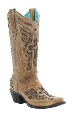 Corral Women's Antique Saddle with Chocolate Inlayed Winged Cross & Brass Studs Snip Toe Western Boots