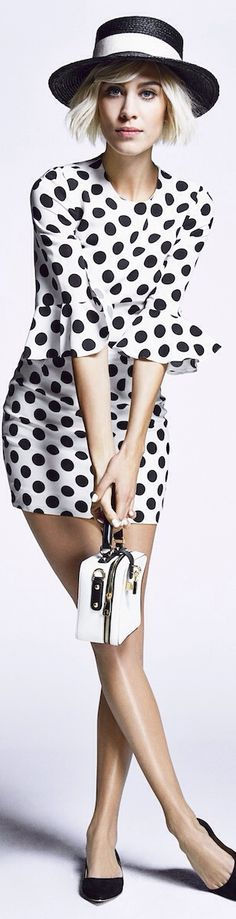 Black white fashion, black n white, daily alexa chung, alexa chung style, d White Polka Dot Dress, Polka Dots, Fashion Shoot, Editorial Fashion, Style Work, Office Style, Alexa Chung Style, Dots Fashion, Fashion Hats