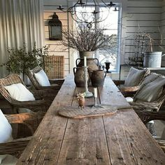 This would be great for an outdoor eating area. Decor, Farmhouse Dining, Home Decor Accessories, Farmhouse Decor, Cottage Decor, Cheap Home Decor, Patio Decor, House Interior, Rustic House