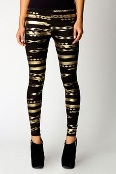 Bailey Metallic Aztec Leggings - available at boohoo.com for $24