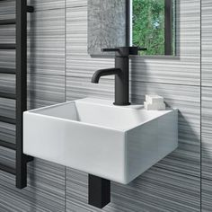 Buy Arissa Round Matt Black Mini Cloakroom Basin Mixer Tap from - the UK's leading online furniture and bed store Large Bathrooms, Amazing Bathrooms, Better Bathrooms, Cloakroom Basin, Bathroom Basin, Small Toilet Room, Small Basin, Square Bath, Black Taps