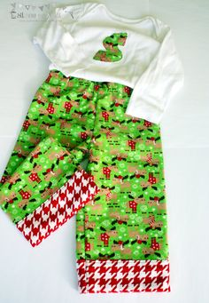 Christmas baby flannel pajama pants and by SilSewingStudio on Etsy