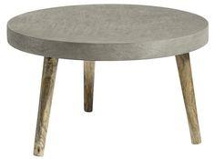 Nordal Sofabord - Grå - Ø75 cm - Nordisk inspireret rundt sofabord. Bordpladen har et betonlook, som gør bordet rustikt og råt. Træbenene sørger for at bryde det ellers rå look og skaber en super god kontrast til bordpladen. Det danske design er meget populært og tilføjer hygge og nordisk stil til hjemmet. Det runde sofabord skaber en hyggelig stemning i stuen.