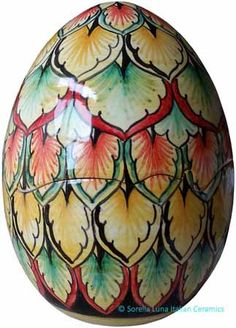 Italian Ceramic Decorative Open Shell Egg - Peacock Style - 6 in high x 5 in wide (15 cm high x 12 cm wide)