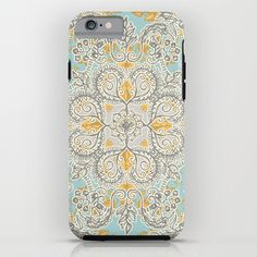 Gypsy Floral in Soft Neutrals, Grey & Yellow on Sage iPhone & iPod Case