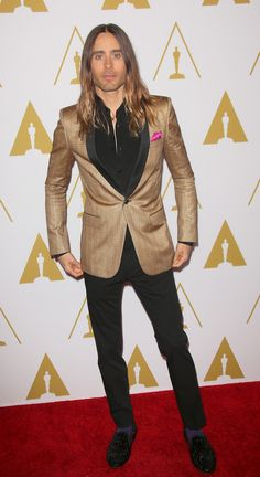 Jared Leto rocked a Saint Laurent outfit at the 2014 Academy Awards Nominees Luncheon | Trend 911