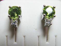 Peridot Diamond Earrings 14k Solid Gold WG 1 Ct August Birthstone New   eBay