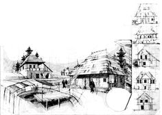 -Badanei House village of cm) Pencil 2011 by Alexandru Mihai Ticalo. All rights reserved Building Sketch, Case, Arch, Pencil, Sketches, Traditional, Book, Drawings, Longbow