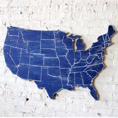 """US Map With Engraved States Wooden Wall Art Oversized 43"""" wide    $119 - blue wooded sign, rustic decoration, USA Pride, living room farmhouse modern decor"""