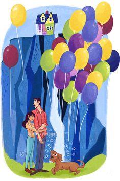 Disney Art Commission // Wedding // DIsney UP inspired art