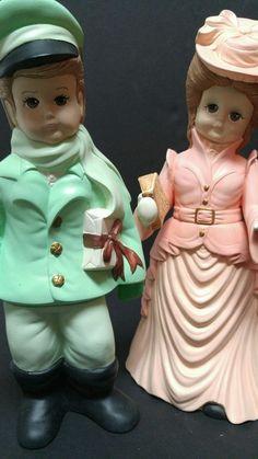 "Dona's Mold Statue Boy Girl 1989 Christmas Carol Ceramic 15"" Colonial Victorian"