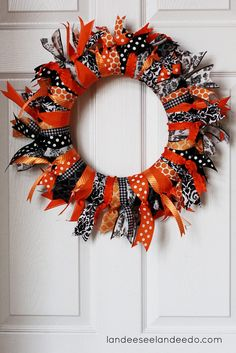 Halloween Ribbon Wreath. Can be adapted for Christmas. I have to make this!