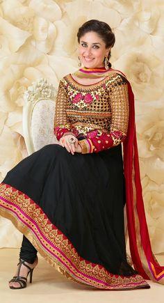Kareena Kapoor Black And Red #Anarkali Style Dress