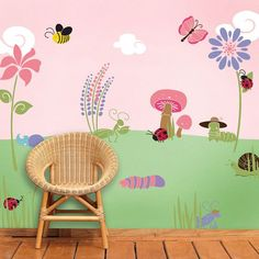 Bug Flower Garden Wall Stencil Kit for Baby Girl by MyWallStencils, $68.99