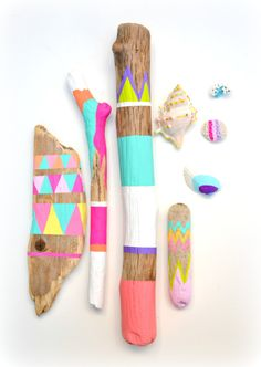 Sticks and Shells Collection - Driftwood Art, Tribal Geometric - Neon, Pastel, Dorm Decor - Painted Driftwood, Seashells, Beach, Boho. $110.00, via Etsy.
