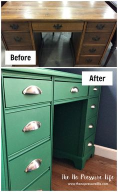 How to Paint Furniture (Even If You Hate Painting) - Desk Makeover - June 08 2019 at Refinished Desk, Refurbished Furniture, Paint Furniture, Repurposed Furniture, Cheap Furniture, Furniture Projects, Furniture Making, Home Furniture, Furniture Design