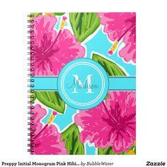 Preppy Initial Monogram Pink Hibiscus Spiral Note Book