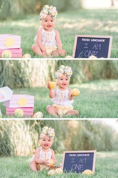 Sweet, one year old summertime birthday photoshoot with props - lemonade theme 3 Month Old Baby Pictures, One Year Pictures, Baby Girl Pictures, Baby Photos, 1st Birthday Pictures, Girl Birthday Themes, Girl First Birthday, First Birthday Photography, Baby Girl Photography