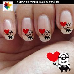 Valentine day Minons Disney nail art cartoon by Nailsgraphicworld, $5.90