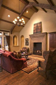 Tuscan style. The vaulted ceiling is a great way to expose oak beams for this design.