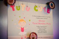 "Photo 14 of pink/ballet theme / Birthday ""Olivia's Ballerina Birthday Party"" Ballerina Birthday Parties, Ballerina Party, 3rd Birthday Parties, 2nd Birthday, Birthday Ideas, Birthday Invitations Kids, Party Invitations, Invites, Little Girl Birthday"