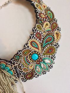 Bead Embroidery Necklace with Rochaille Fringe, Statement Necklace Collar Styles, Metal Beads, Turquoise Beads, Beaded Embroidery, Beaded Earrings, Wire Jewelry, Seed Beads, Cranberry Mustard, Fringe Necklace