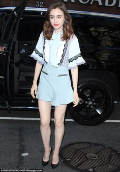 Who made Lily Collin's blue lace romper? Celebrity Outfits, Celebrity Style, Lily Collins Style, Lace Romper, Playsuit, Hollywood Fashion, Hollywood Style, Spring Summer Trends, Blue Lace