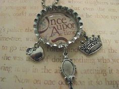 ONCE UPON A TIME Bottle Cap Charm Necklace  Crown by ZivaKreations, $10.50