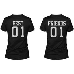 Best 01 Friend 01 Matching Best Friends T-Shirts BFF Tees For Two... ($33) ❤ liked on Polyvore featuring tops