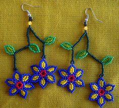 Huichol Beaded Flower earrings