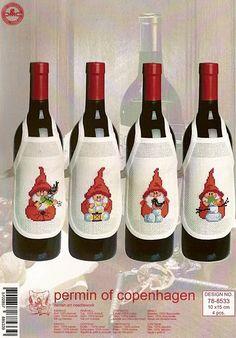 Delantal de botella para amantes del #vino #winelovers personalizados en #puntodecruz