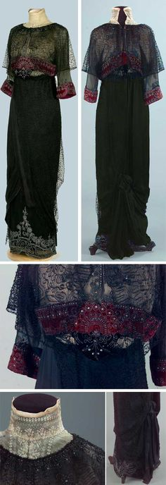 Dress, F.Casas Puig, Terrassa, Spain, 1900-1909. Black silk skirt with velvet ribbons embroidered with silk chenille yarn. White lace collar covering neckline. Bodice is black silk covered w/net embroidered w/chenille yarn; it forms 2 bands across chest back. Short train. Bottom decorated w/rhinestones, embroidery, velvet ribbons. High waist attaches to bodice with hooks, hidden by chenille embroidery, making it look like 1 piece. Textile Museum Documentation Center, Terassa (IMATEX)