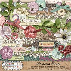 Blushing #Bride Digital #Scrapbook Elements from peppermintcreative.com | #wedding
