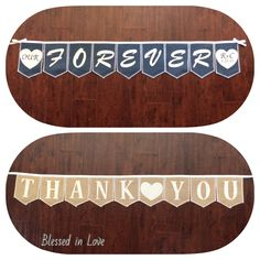 Reversible banner, dual sided bunting, personalized Forever banner, on one side and Thank You on the other side, Product ID# 2014-030 by BlessedinLove on Etsy