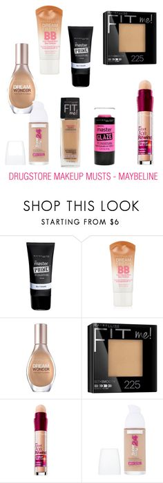 """Drugstore Makeup - Maybeline"" by tenny-manuel ❤ liked on Polyvore featuring beauty, Maybelline, Beauty, makeup and beautyset"
