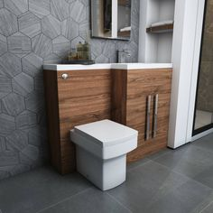 Team a walnut wood finish with simple greys to really make the wood finish 'pop' Combination Vanity Units, Toilet And Basin Unit, Concealed Cistern, Back To Wall Toilets, Walnut Furniture, Basin Taps, Direct Marketing, Walnut Wood, The Unit