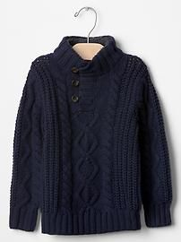 Sherpa mockneck cable sweater