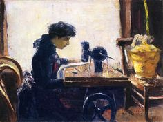 The Sewing Machine, Lesser Ury Lesser Ury (1861-1931) Smart lady, using a sewing machine instead of hand sewing.